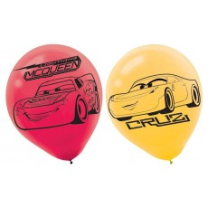 Teardrop Red & Yellow Disney Cars 3 Latex Balloons 30cm Pack of 6