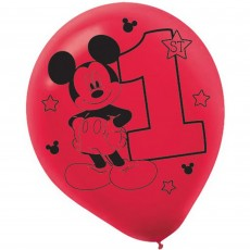 Teardrop Assorted Colours Mickey Mouse 1st Birthday Fun To Be One Latex Balloons 30cm Pack of 15