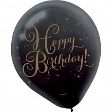 Happy Birthday Gold Latex Balloons