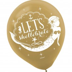Teardrop Gold Mermaid Wishes Let's shellebrate Latex Balloons 30cm Pack of 6