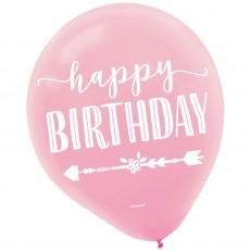 Teardrop Boho Girl Happy Birthday Latex Balloons Pack of 15