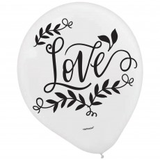 Bridal Shower Love and Leaves Latex Balloons