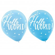Teardrop Oh Baby Boy Hello World! Latex Balloons 30cm Pack of 15