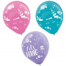 Sloth Latex Balloons 30cm Pack of 6