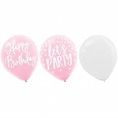 Blush Birthday Latex Balloons