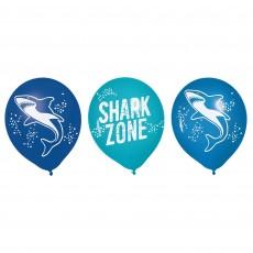 Shark Splash Party Decorations - Latex Balloons Shark Zone