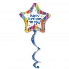 Happy Birthday Tail Streamer Airwalker Foil Balloon
