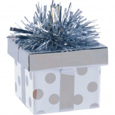 Silver Dots Gift Box Balloon Weight 5.6cm x 4.5cm