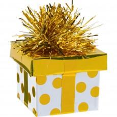 Gold Dots Gift Box Balloon Weight 5.6cm x 4.5cm