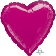 Heart Metallic Fuchsia Magenta Standard HX Shaped Balloon 45cm