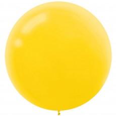 Round Sunshine Yellow Latex Balloons 60cm Pack of 4
