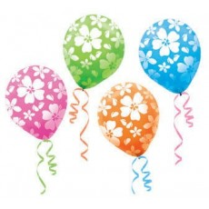 Hawaiian Party Decorations Multi Coloured Hibiscus Latex Balloons