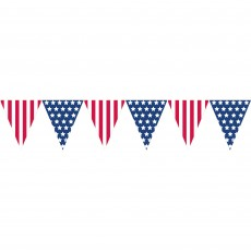 USA Patriotic Stars & Stripes Plastic Pennant Banner 3.65m x 26cm