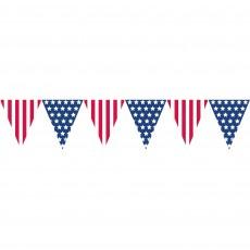 USA Patriotic Stars & Stripes Plastic Pennant Banner