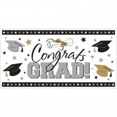 Black, Silver & Gold Graduation Large Horizontal Congrats Grad! Banner 85cm x 165cm