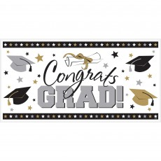 Graduation Black, Silver & Gold Large Horizontal Banner