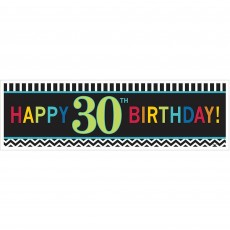Chevron Design Celebration 30th Birthday Banner