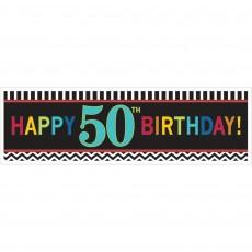 50th Birthday Chevron Celebration Giant Banner