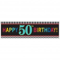 Chevron Design Celebration 50th Birthday Banner