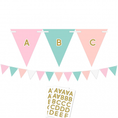Pastel Celebration Customizable Paper Pennant Banner