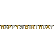 Black, Gold & Silver 30th Birthday Sparkling Celebration Prismatic Letter Banner 2.13m x 16cm