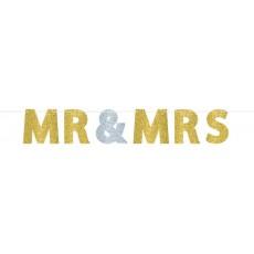 Wedding Glitter Paper MR & MRS Banner 3.6m x 17.7cm