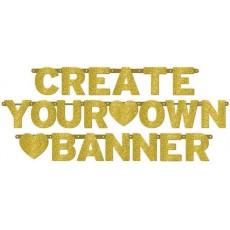 Gold Glittered Customisable Letter Banner 11.4cm