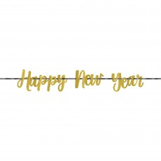 New Year Gold Glittered Ribbon Banner