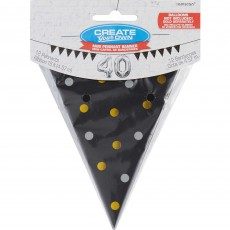 Dots Black Metallic Mini Paper Pennant Banner