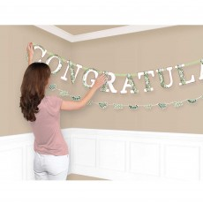 Bridal Shower Love and Leaves Congrats Jumbo Letter Banners Pack of 2