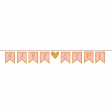 Baby Shower - General Girl Clothespin Glittered Letter Banner 16cm x 3.65m