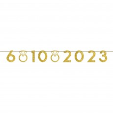 Glittered Gold Wedding Customizable Numbers & Rings Banner