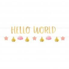 Oh Baby Girl Letter Hello World! Banners 1.7m Pack of 2