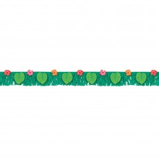 Hawaiian Luau Tropical Jungle Fringe Banner