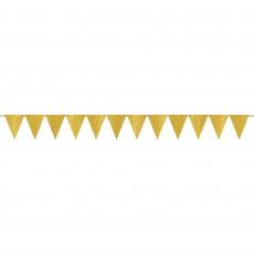 Glittered Gold Sparkle Mini Paper Pennant Banner