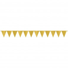 Gold Glittered  Sparkle Mini Paper Pennant Banner