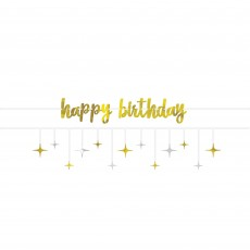 Happy Birthday Silver & Gold Foil & Stars Ribbon Banners