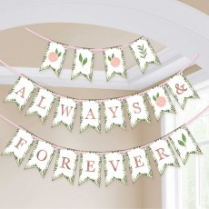 Bridal Shower Love and Leaves Pennant Banner