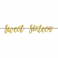 16th Birthday Gold Elegant Sixteen Blush Ribbon Letter Banner