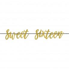 Gold 16th Birthday Elegant Sixteen Blush Ribbon Letter Sweet Sixteen Banner 20cm x 3.65m