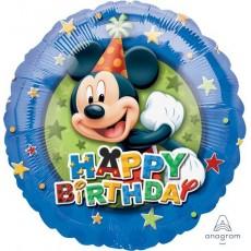 Round Mickey Mouse Birthday Stars Standard HX Foil Balloon 45cm
