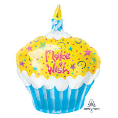 Happy Birthday Junior Cupcake Make a Wish Shaped Balloon 38cm x 48cm