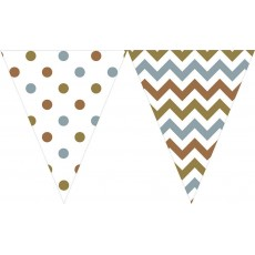 Chevron Design Mixed Metallic Large Printed Plastic Pennant Banner