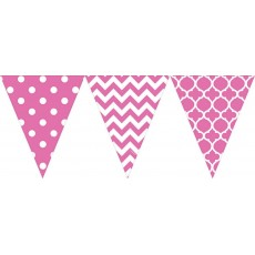 Dots & Stripes Bright Pink Large Printed Plastic Pennant Banner
