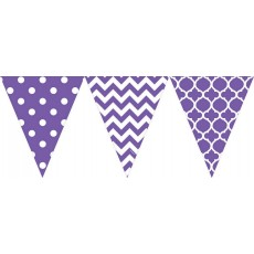 Dots & Stripes New Purple Large Printed Pennant Banner