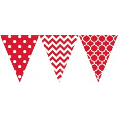 Dots & Stripes Apple Red Large Plastic Pennant Banner