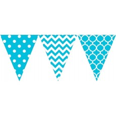 Dots & Stripes Caribbean Blue Large Printed Plastic Pennant Banner