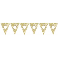 50th Anniversary Gold Scroll Personalized Pennant Banner
