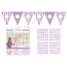 Lilac Dots & Stripes Personalized Pennant Banner
