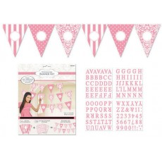 Dots & Stripes New Pink Personalized Pennant Banner